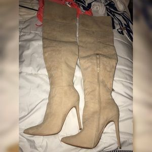 over the knee high heel boots